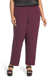 Eileen Fisher Plus Size Women's Silk Georgette Crepe Straight Ankle Pants