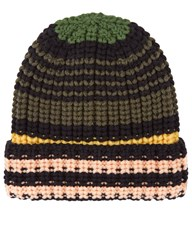 Sonia Rykiel Multi Wool Knit Beanie Hat Striped