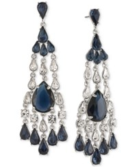 Carolee Silver Tone Blue And Clear Crystal Chandelier Earrings