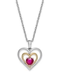 Macy's Ruby Heart Pendant Necklace In 14K Gold And Sterling Silver 5 8 Ct. T.W.