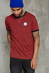 Forever 21 Dice Graphic Striped Ringer Tee Black Red