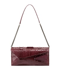 Kara Ross Stella Stretch Python Shoulder Bag Bordeaux