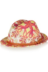 Emilio Pucci Leather Trimmed Printed Woven Rafia Hat Brown