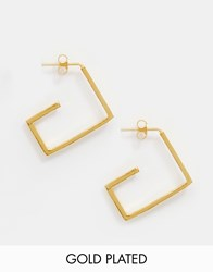 Ottoman Hands Gold Plated Square Hoop Earrings Gold