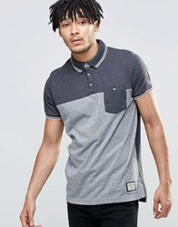 Brave Soul Panel Polo Shirt Grey