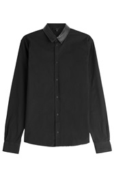 Iro Cotton Shirt With Leather Collar Black