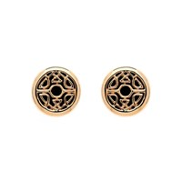 Biba Rose Gold Button Crystal Fabric Earrings