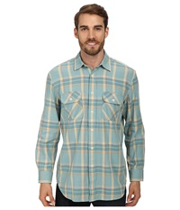Pendleton L S Beach Shack Twill Shirt Sea Breeze Plaid Men's Long Sleeve Button Up Blue