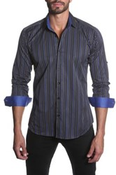 Jared Lang Long Sleeve Striped Semi Fitted Shirt Multi