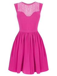 Oasis Lace Trim Soft Skater Dress Mexican Pink