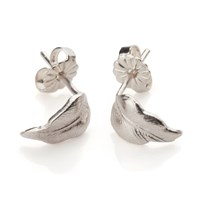 Frillybylily Silver Feather Earrings