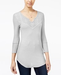 Almost Famous Juniors' Waffle Knit Top With Lace Back Cream
