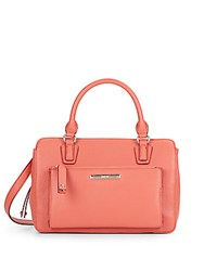 Nine West Zip N Go Faux Leather Satchel Coral