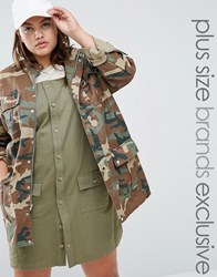 Daisy Street Plus Camo Utility Jacket With Pockets Multi Green