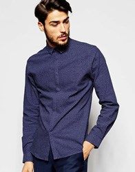 Noak Polka Dot Shirt With Micro Collar In Skinny Fit Navy