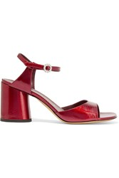 Marc Jacobs Amelia Glossed Leather Sandals Red