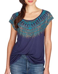 Lucky Brand Textured Cap Sleeve Top Blue