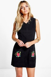 Boohoo Cord Embroidered Pinafore Dress Black