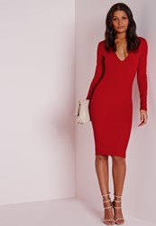 Missguided Ponte Long Sleeve Plunge Midi Dress Red Red