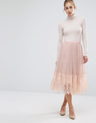 Miss Selfridge Mesh Midi Prom Skirt Nude Beige