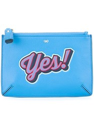 Anya Hindmarch 'Yes' Coin Purse Blue
