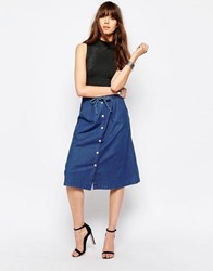 Only Denim Midi Skirt Chambray Blue