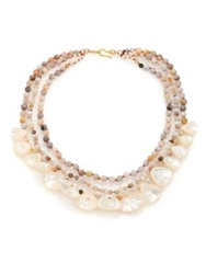 Chan Luu Mother Of Pearl And African Opal Multi Strand Necklace Gold Multi