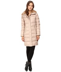 Cole Haan Down Coat With Rabbit Faux Fur Removable Collar Sand Women's Coat Beige