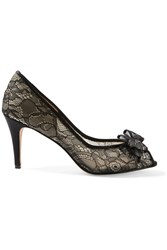Lucy Choi London Coral Bow Embellished Lace Pumps Black