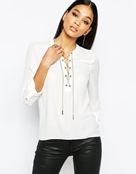 Lipsy Open Front Blouse With Chain Detail White