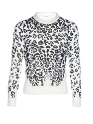 Saint Laurent Leopard Print Crew Neck Sweater Black Multi