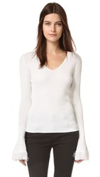 Derek Lam Bell Sleeve V Neck Sweater White