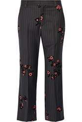 Marc Jacobs Bowie Flocked Pinstriped Wool Crepe Straight Leg Pants Black