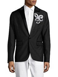 Dsquared Embroidered Wool And Silk Tuxedo Jacket Black