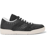 Bottega Veneta Suede Trimmed Intrecciato Leather Sneakers Blue