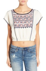 Women's Astr Embroidered Cotton And Linen Crop Top
