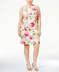 Connected Plus Size Tiered Floral Print Sheath Dress Pink