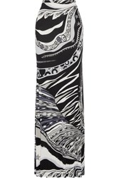 Emilio Pucci Printed Stretch Jersey Maxi Skirt Black