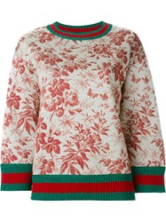 Gucci Floral Print Sweatshirt Nude And Neutrals
