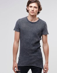 Asos Super Longline Muscle T Shirt In Waffle With Pointed Hem And Acid Wash Gray