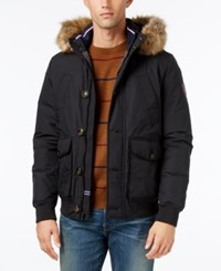 Tommy Hilfiger Men's Hampton Hooded Coat With Faux Fur Trim Flag Black