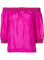 Trina Turk Off Shoulders Three Quarters Sleeve Blouse Pink And Purple