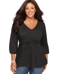 Ny Collection Plus Size Three Quarter Sleeve Ruched Empire Waist Top Black