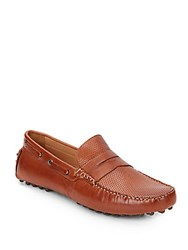 Saks Fifth Avenue Perforated Leather Penny Drivers Cognac
