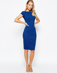 Closet Pencil Dress With Ruched Cap Sleeve Cobalt