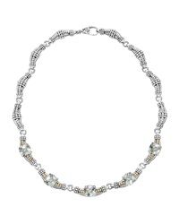 Lagos Prism Silver 18K And Green Amethyst Link Necklace