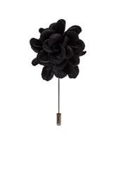 Lanvin Wool And Viscose Rose Tie Pin In Black