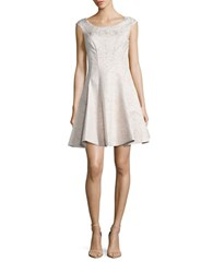 Betsey Johnson Jacquard Fit And Flare Dress Gold Ivory