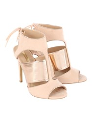 Jane Norman Lace Up Rose Gold Cage Heels Natural