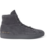 Common Projects Original Achilles Suede High Top Sneakers Dark Gray
